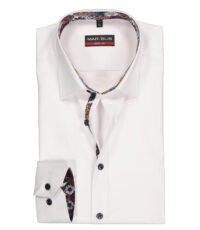 Marvelis grote maat overhemd lange mouw wit contrast strijkvrij