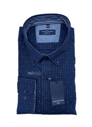 Casa Moda overhemd grote maat lange mouw blauw fantasie button down