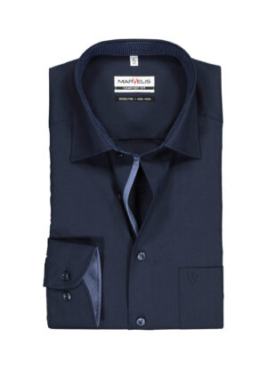 Marvelis grote maat overhemd lange mouw donkerblauw strijkvrij