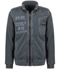 Kitaro sweat jacket grote maat grijsblauw