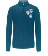Kitaro grote maat sweater polokraag rits blauw