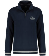 Kitaro grote maat sweater polokraag rits blauw South Bay