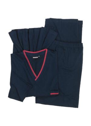 Adamo grote maat pyjama donkerblauw v-hals