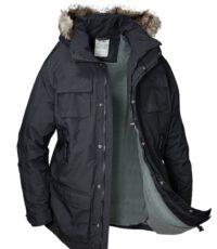 Brigg grote maat winter jack zwart met capuchon en bontkraag