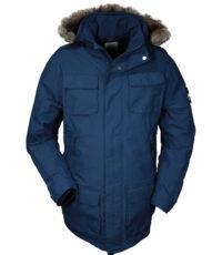 Brigg grote maat winter jack blauw met capuchon en bontkraag