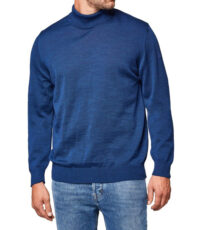 Maerz grote maat col trui blauw merino wol