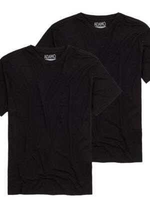 Adamo t-shirt grote maat zwart korte mouw ronde hals