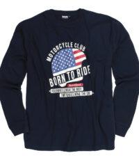 Adamo grote maat t-shirt lange mouw donkerblauw Motor Cycle Club