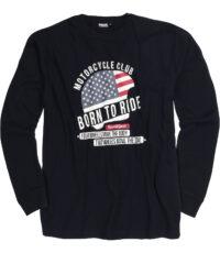 Adamo grote maat t-shirt lange mouw zwart Motor Cycle Club