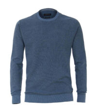 Casa Moda extra lange mouw 72cm ronde hals trui blauw