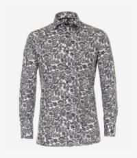 Casa Moda grote maat overhemd lange mouw antracietgrijs paisley patroon