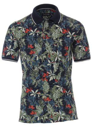 Casa Moda grote maat poloshirt donkerblauw Hawaii print