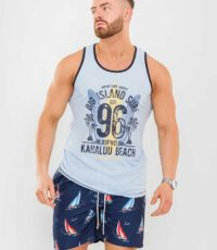 D555 grote maat mouwloos t-shirt lichtblauw