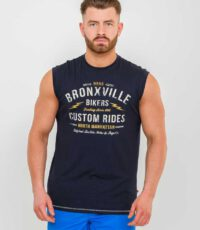 D555 grote maat mouwloos t-shirt donkerblauw
