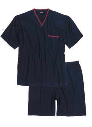 Adamo grote maat shorty v-hals pyjama donkerblauw