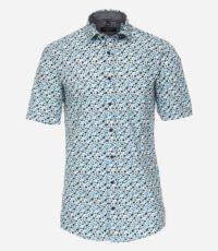 Casa Moda grote maat overhemd korte mouw blauw en groen fantasie