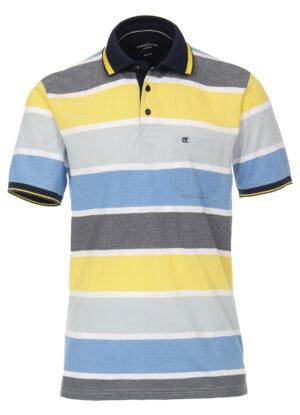 Casa Moda grote maat poloshirt blauw en gele banen