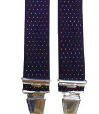 Het Broekenpaleis extra lange bretels donkerblauw met wit stipje
