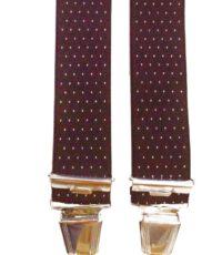 Het Broekenpaleis extra lange bretels bordeauxrood met wit stipje