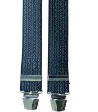 Extra lange bretels donkerblauw met lichtblauw motiefje