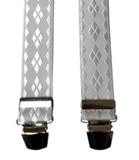 Extra lange bretels wit ruit motief glansgaren glansgaren 140cm lang