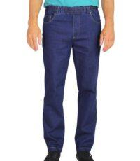 Luigi Morini grote maat 5 pocket jeans met elastische band mid bleu