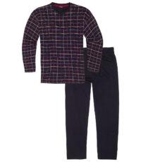 Adamo grote maat pyjama donkerblauw geruit